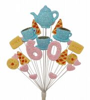 Afternoon tea 60th birthday cake topper decoration in pale blue and pale pink - free postage